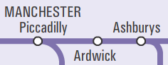 Extract from Northern Rail network map showing Ardwick station
