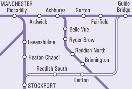 Map showing line from Stockport to Stalybridge, with stations at Reddish South, Denton and Guide Bridge