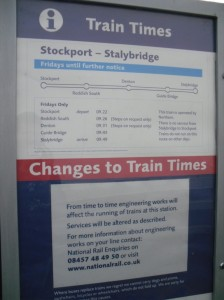 Stockport to Stalybridge timetable poster