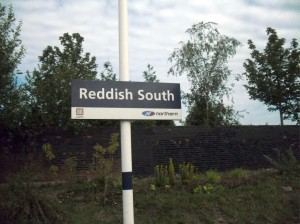 Reddish South station nameboard