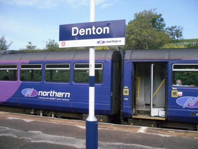 Photo of Denton Station with Stalybridge train in background