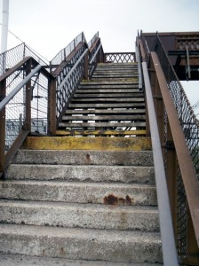Photo of footbridge steps at Ardwick station
