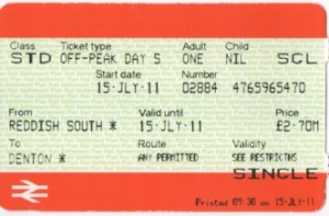 Picture of single ticket from Reddish South to Denton