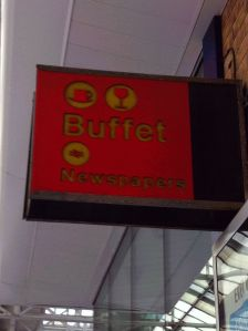 "Photo of sign for ""Buffet / Newspapers"" (in British Rail corporate style)"