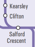 Extract from network map showing Clifton station, between Kearsley and Salford Crescent