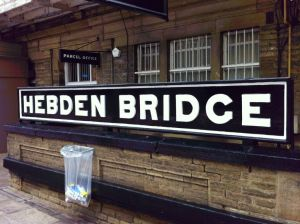 Hebden Bridge Station Nameboard