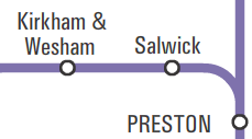 Map of Northern Rail network showing Salwick between Preston and Kirkham & Wesham