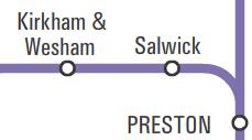 Map of Northern Rail network showing Salwick between Preston and Kirkham & Wesham