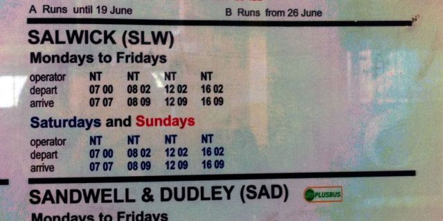 Photo of Salwick timetable poster showing trains at 0700, 0802, 1202 and 1602