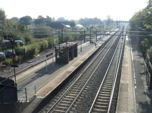 Photo of Acton Bridge station showing platforms and tracks