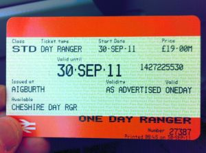 Photo of Cheshire Day Ranger ticket dated 30 September 2011