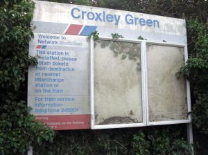Photo of disused information boards at Croxley Green