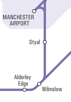 Extract from Northern Rail network map showing Styal between Manchester Airport and Wilmslow stations