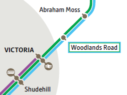 Extract from Metrolink network map showing Woodlands Road between Victoria and Abraham Moss stops