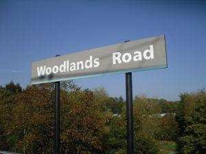 Photo of platform sign at Woodlands Road Metrolink stop