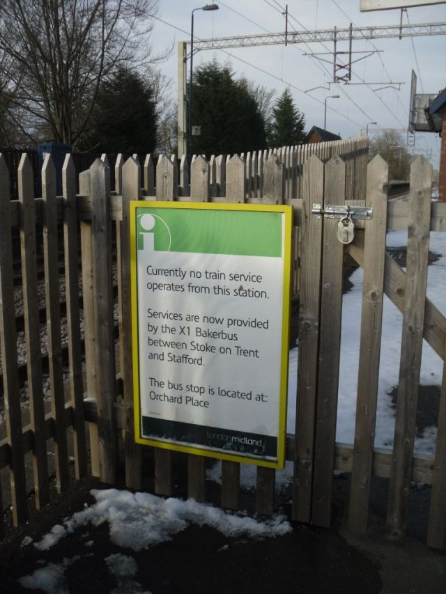 Photo of London Midland noticeboard advising that no trains call here