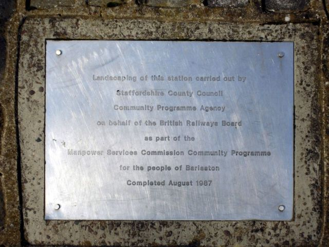 Photo of Plaque at Barlaston Station
