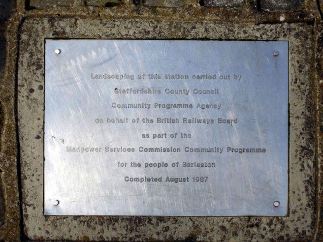 Photo of Plaque at Barlaston Station