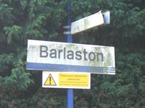 Photo of tatty station nameboard for Barlaston