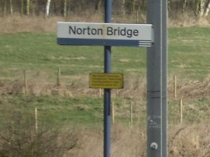 Photo of Norton Bridge station sign