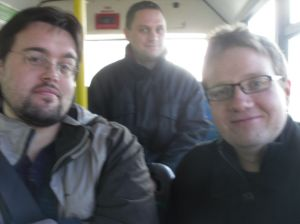 Photo of Robert, Scott and Ian on the bus