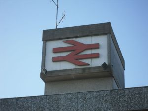 Photo of BR double-arrow logo on Stafford station