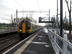 Photo of London Midland Desiro passing non-stop through Wedgwood station