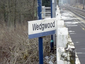 Photo of Wedgwood station sign, at an odd angle