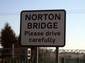 "Photo of road sign saying ""Welcome to Norton Bridge"""