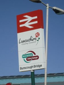 British Rail / Lancashire County Council sign at Burscough Bridge Interchange