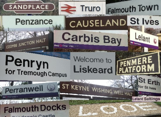Montage of station signs: Sandplace, Truro, Falmouth Town, Penzance, Causeland, St Ives, Coombe Junction Halt, Carbis Bay, Lelant, Penryn, Liskeard, Penmere, Perranwell, St Keyne Wishing Well Halt, St Erth, Lelant Saltings, Falmouth Docks, Looe