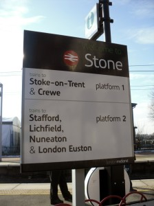 Welcome to Stone sign at entrance to platform