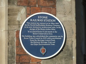Blue Plaque at Stone Station giving the history of the building