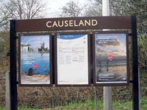 Photo of information boards at Causeland station