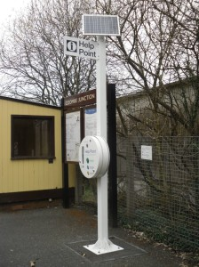 Photo of solar-powered help point at Coombe Junction Halt