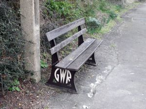 Photo of bench with GWR logo in it at Liskeard