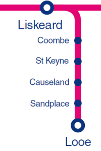 Map showing Liskeard to Looe line via Coombe, St Keyne, Causeland and Sandplace
