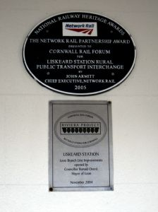 Photo of plaque at Liskeard station commemorating the Looe Valley Line improvements