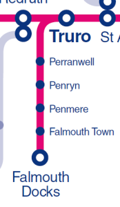 Extract from FGW network map showing Maritime Line