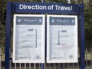 Photo of Direction of Travel Sign at Penryn Station