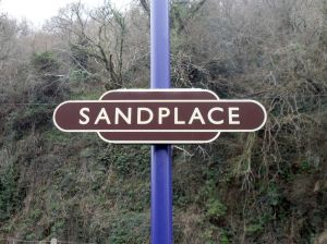 Photo of Sandplace station nameboard
