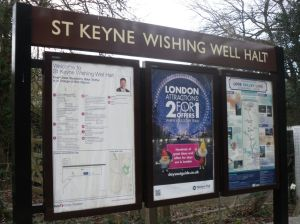 Station nameboard and information posters at St Keyne