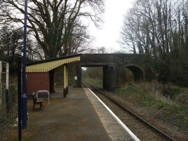 Photo of St Keyne Wishing Well Halt station, looking towards Liskeard