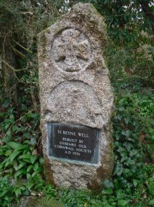 "Photo of plaque at St Keyne Well - ""Rebuilt by Liskeard Old Cornwall Society AD 1936"""