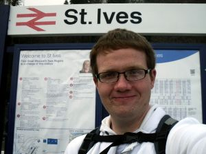 Robert under the St Ives sign