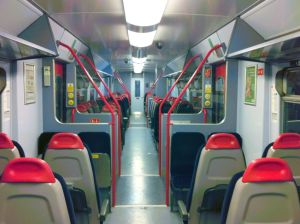 Empty interior of St Ives train