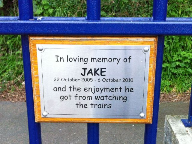 "St Ives station plaque: ""In loving memory of Jake"""
