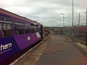 Heysham Port station, with Northern Rail train ready to depart