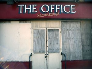 The Office bar boarded up