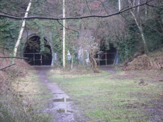 Disused tunnels on Parkland Walk near Highgate station